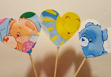 Care Bear, cupcake topper, vintage, cake topper, drink stirer, birthday decorations, party decorations, baby shower decorations