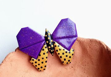 Purple butterfly brooch, graphic jewelry, graphic brooch, purple and gold, lapel pin, coat accessory, cute gift, original brooch