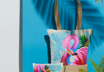 Flamingo Hand Painted Tote Bag and Pouch