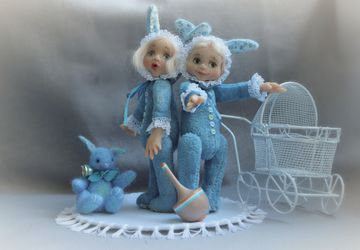 "Pocket teddy dolls ""Hare-sisters"""