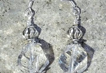 Clear Glass Earrings,Sterling Silver Earrings, Crystal Dangle Earrings, Vintage Style, Boho Earrings, Gifts for Her, Beach Jewelry