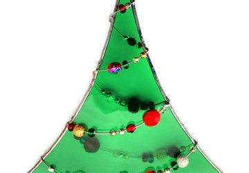 Christmas Tree Suncatcher with Beaded Garland, Stained Glass with Glass Beads