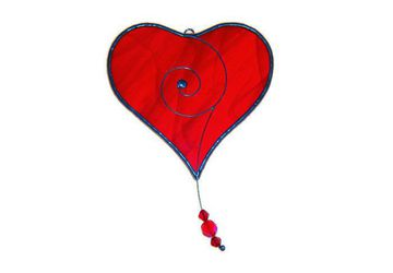 Sun Catcher Valentine's Day Red Love Heart to Hang in Window, Gift for Wife Fiancee or Girlfriend