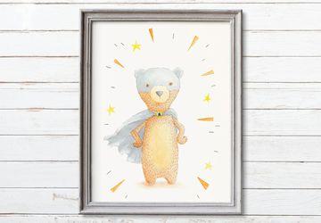 Superhero Printable Nursery Art, Boy Nursery Decor, Superhero Bear Nursery Print, Nursery Wall Art, Printable Kids Room Wall Art