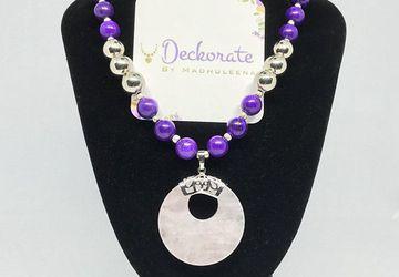Purple Agate Necklace rose quartz pendant raw gemstone chunky necklace