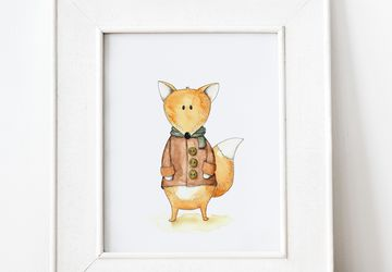 Fox Print for Woodland Nursery Decor, Printable Animal Wall Art for Kids Room, Gender Neutral Nursery Decor