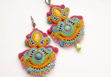 Colorful Folk earrings | Ethnic Mexican earrings | Frida Kahlo inspired Multicolored jewelry