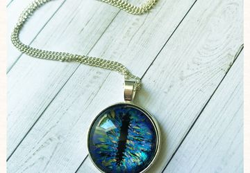 Hand painted blue dragon eye necklace