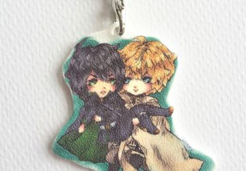 Cute Mika and Yuu Keychain