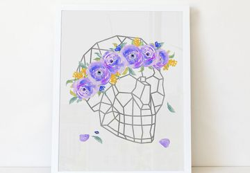 Floral geometric skull wall art print decor.