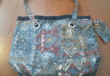 Large Heavy Duty Native American Design Upholstery Fabric Tote w/Clip On Pouch