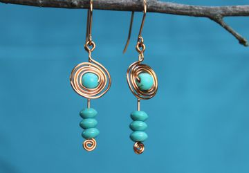 Copper wire and bead earrings with spirals, fishhook, dangle