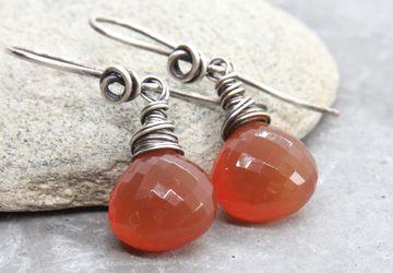 Rust Chalcedony Earrings Oxidized Silver Gemstone Jewelry Made For Mom   Orange Teardrop Earrings Chalcedony Jewelry