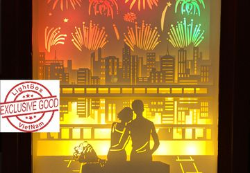 Paper cut light box Couple and Firework Shadow box DreamBox A Laser Cut ReproductionPaper cut Light Box