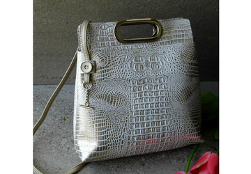 Off white handbag, White handmade vegan leather purse, Large purse with handles, Faux crocodile bag, Silver handbag, Unique design handbag