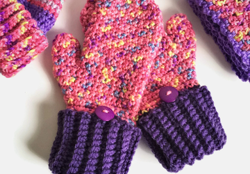 Pink and Purple Adult Mittens