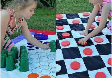 Checkers Board / Chinese Checkers - Two in One Family Outdoor Game