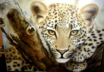Leopard - a painting in aerographics without frame