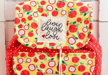 Baby shower gift, red apple backpack, diapers backpack, cotton backpack, personalized backpack, gift for mom, Mother's Day gift, travel gift