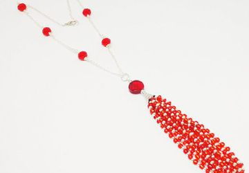 Handmade Crystal Tassel Necklace Long Fringe Beaded Tassel Ruby Red Crystal Necklace Ethnic Indian Silver Jewelry