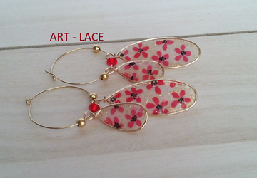 Oval Dangle Hoop earrings Christmas earrings Party earring Red flower Chandelier earring College student gift Chinese Japanese earring