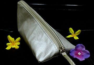 Vegan Makeup Bag, Small Metallic Silver Makeup Pouch, Triangle Zipper Cosmetic Bag, Mini Toiletry Case, Pyramid Pouch