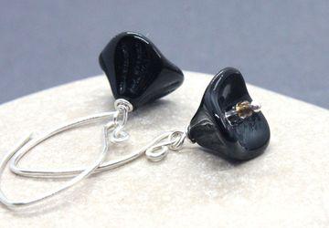 Black Flower Earrings Sterling Silver Glass Earrings