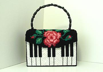Red,black and pink Piano handbag