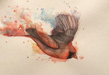 Watercolor Splash Bird Painting