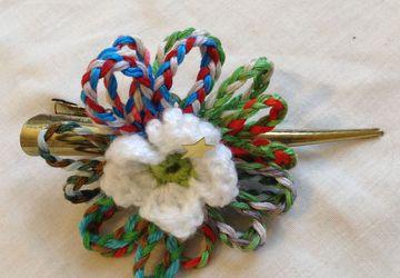 Beautiful plated flower crochet hair slide
