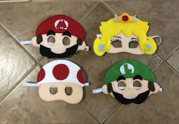 Felt Mario Inspired Masks, dramatic play, costume accessories