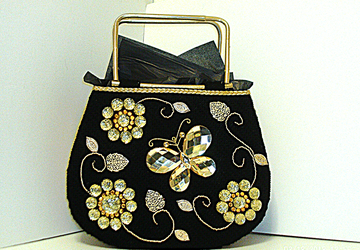 Jeweled Black and Gold Butterfly Tote bag