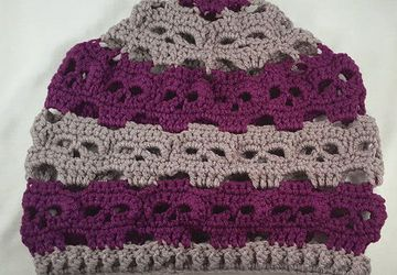 Skulls Slouch Hat - Pewter Gray And Dark Orchid