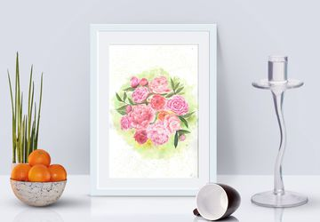 Peony flower watercolor wall art / botanical painting / floral wall decor