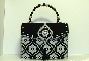 Black and Sliver Jeweled Handbag