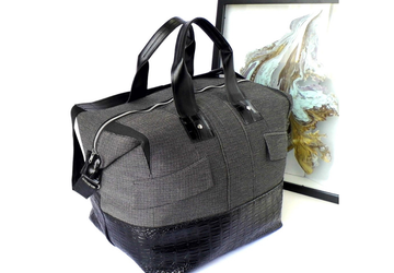Large Weekender Bag in Grey and Black Faux Leather, Men's Overnight Bag, Perfect Christmas Gift