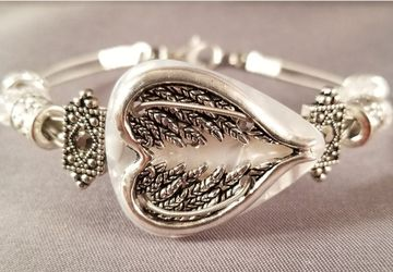 "Guitar Pick and Guitar String Bracelet ""White Angel Wing Heart"""
