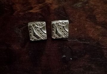 Sterling Silver Handmade Stud Tile Earrings #10 Truly Unique!