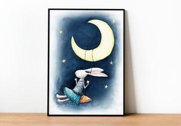 Girl room decor, Printable Nursery Wall Art, Swinging Bunny Nursery Print, Instant Download Nursery Wall Art, Printable Toddler Room Art