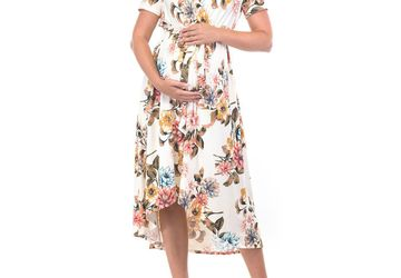 High-Low Floral Dress with a Belt from Mother Bee Maternity | Stylish Maternity Dresses