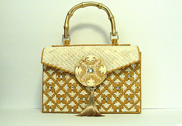 Ivory and Gold Jeweled Handbag
