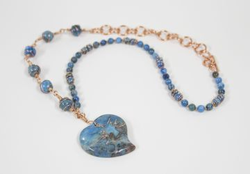 Blue agate stone wire wrapped necklace with heart pendant and copper wire