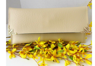 Cream clutch purse, Vegan leather evening bag, Beige faux clutch, Wedding purse, Bridal gift, Clutch for the bride, Summer bag