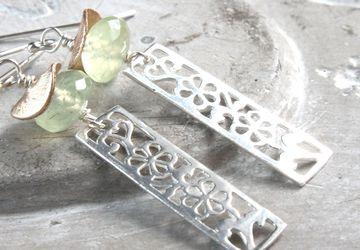Prehnite Charm Earrings Sterling Silver Gemstone Jewelry Light Green Earrings