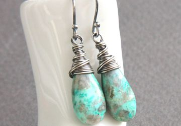 Chrysocolla Earrings Oxidized Silver Gemstone Jewelry   Unique Gifts For Her Turquoise Teardrop Earrings
