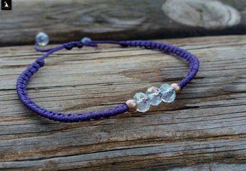 Purple Minimal Crystal Macrame Bracelet