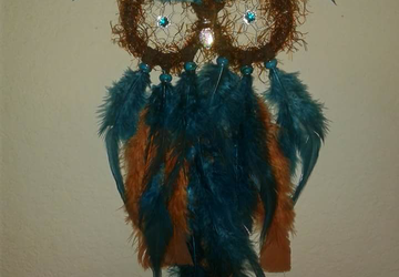 Teal and Brown Owl Dreamcatcher