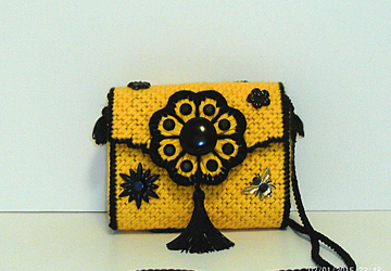 Floral Jeweled Black and Yellow Clutch