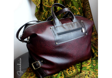 Travel Bag For Women, Vegan weekender bag, Overnight tote, Burgundy weekend bag, Faux leather large bag, Travel gifts for women