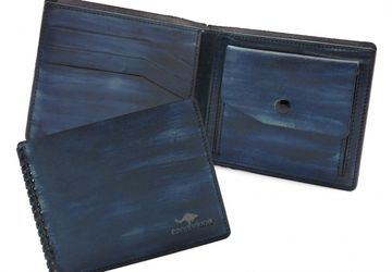 Leather wallet CANGURIONE 1113-020 Dark-Blue Hand Made